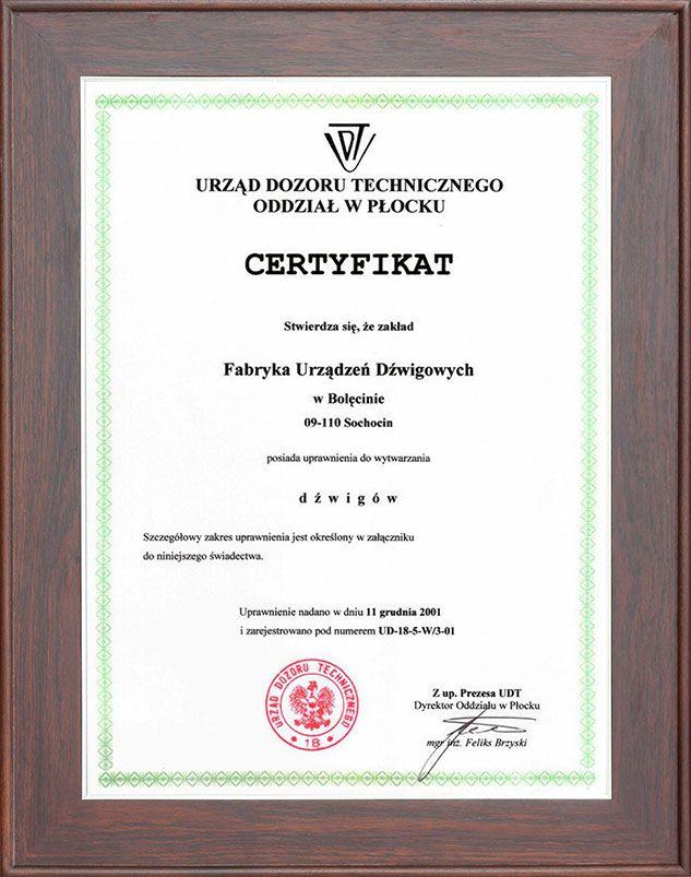 certyfikat wytwarzania dźwigów